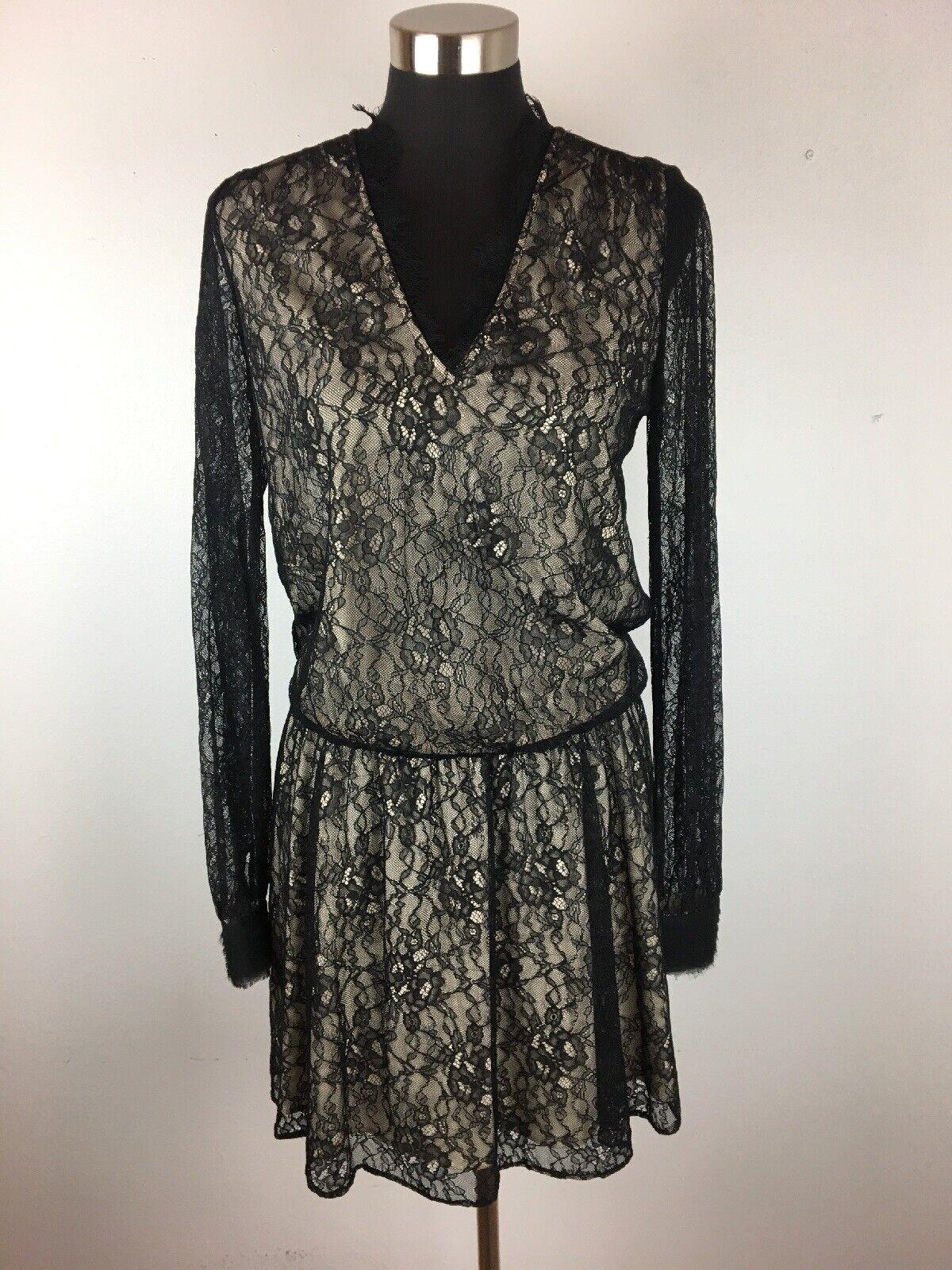 Alice Olivia damen Deena Drop Waist Dress 6 S schwarz Nude Shear Lace Long Sleeve