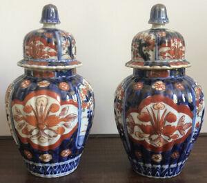 Paire de pots couverts Imari, XIXème