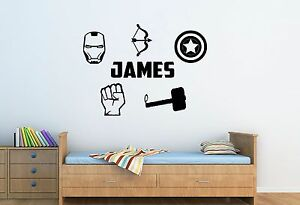 Intelligente Personalised Name & Marvel Superhero Logo's - Wall Art Sticker, Bedroom Kids