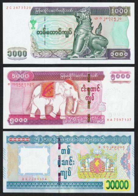 MYANMAR BURMA 1000 5000 10000 Kyats Kyat Set 3 PCS, 2004 2015, P-80 83 84, UNC