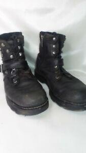 Harley-Davidson-Mens-Leather-Boots-Size-11-Black-Motorcycle-Biker-Zip-Up-Lace-up