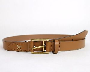 new gucci s light brown leather belt gold buckle