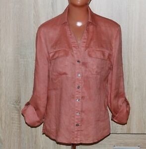 Laura-Ashley-Terracotta-Long-Sleeve-Linen-Blouse-Size-S