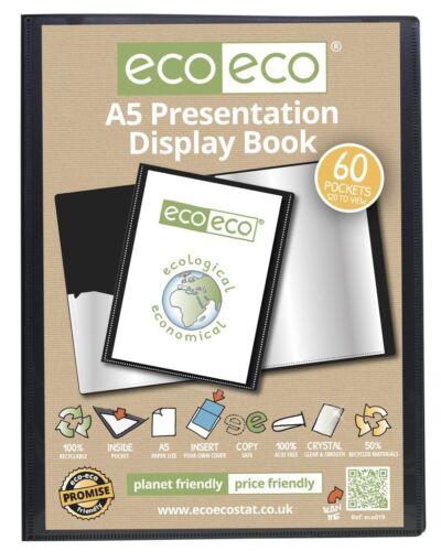 eco-eco A5 50/% Recycled 60 Pocket Black Folder Presentation Display Book