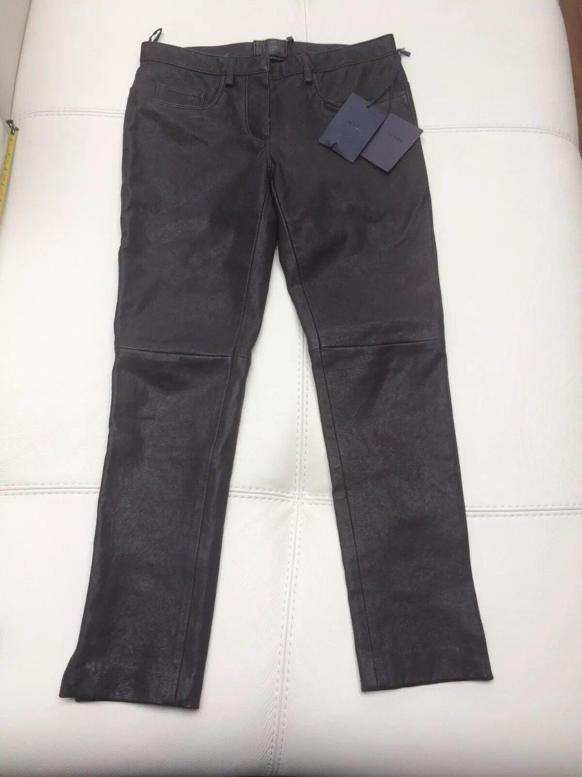 Prada Stretch Leather Trousers Sz 38