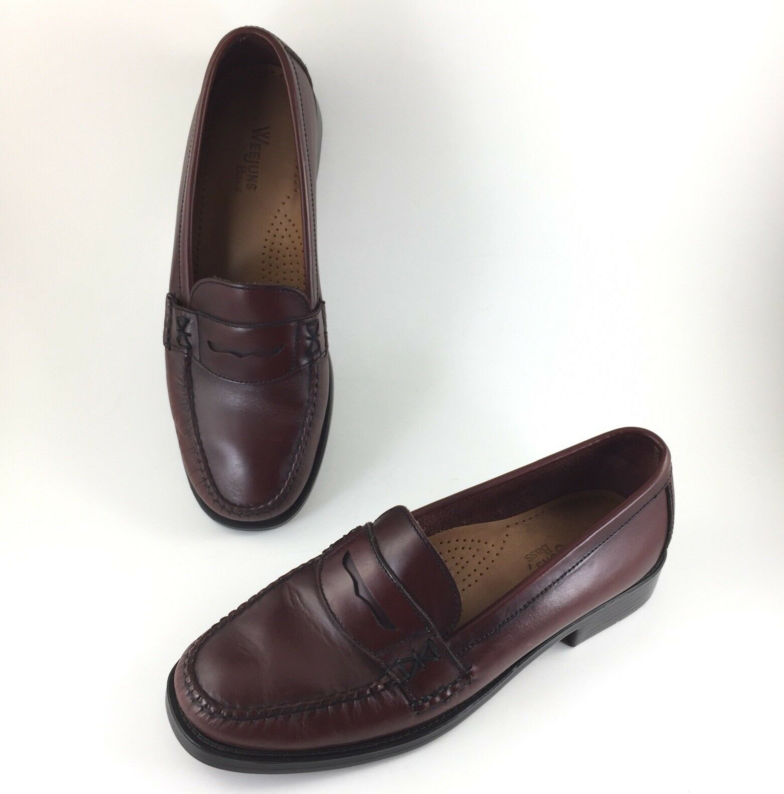 Bass Mens Weejun shoes Penny Loafers Slip On Moc Burgundy Leather Katherine II 2