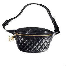 CHANEL FANNY PACK BELT BAG - BLACK QUILTED LEATHER WAIST GOLD CC VINTAGE HANDBAG