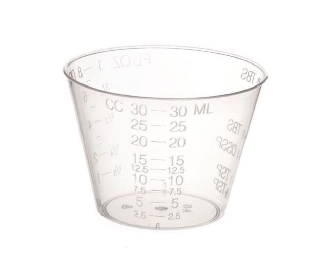 Plastic Graduated Medicine Cups 1 oz - (Pack of 100) Free Shipping !