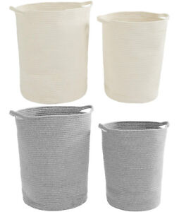 2-x-Woven-Cotton-Rope-Laundry-Baskets-Fordable-Hampers-Bedroom-Bathroom-Storage