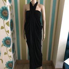 All Saints Cachao Black Modal Silk Maxi Grecian Lagenlook Dress Size  6 Draped