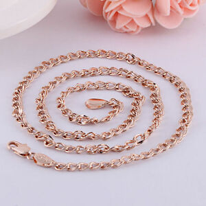 10K-Rose-Gold-GF-Twisted-Link-Chain-Necklace-58-5cm-5mm-Wide-Beautiful-NEW