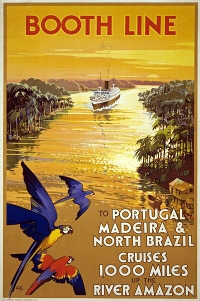 TW94 Vintage Booth Line Portugal Brazil Amazon Cruise Travel Poster A1/A2/A3/A4