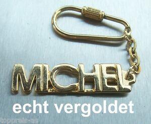 EDLER SCHLÜSSELANHÄN<wbr/>GER MICHEL VERGOLDET GOLD NAME KEYCHAIN WEIHNACHTSGESC<wbr/>HENK
