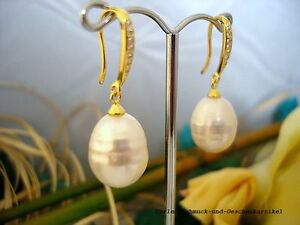 Ohrringe-925er-Silber-vergoldet-echte-grosse-barocke-Perlen-12-x-15mm-Weiss-TOP
