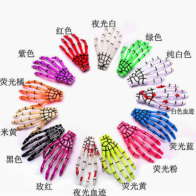 Fashion Womens Girl's Celebrity Hair Clips Hairpin Skeleton Hand Bone 14 Colors