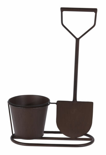 38x24 cm Metall Blumentopf mit Spaten in Rost Optik Garten Deko Pflanztopf