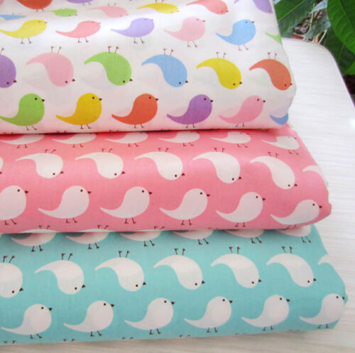 One PCS Cotton Fabric Pre-Cut Quilt cloth Fabric for Sewing Colorful Birds  D3