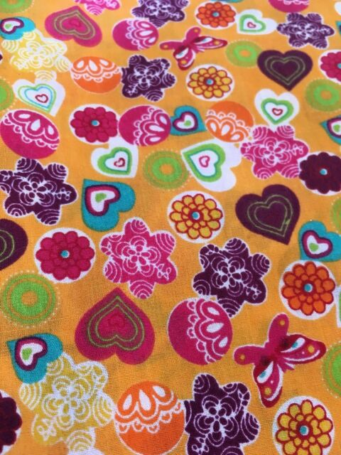 """FQ Orange Red Multi Hearts Flowers Fabric Poly-cotton Remnant 22"""" X 18"""""""