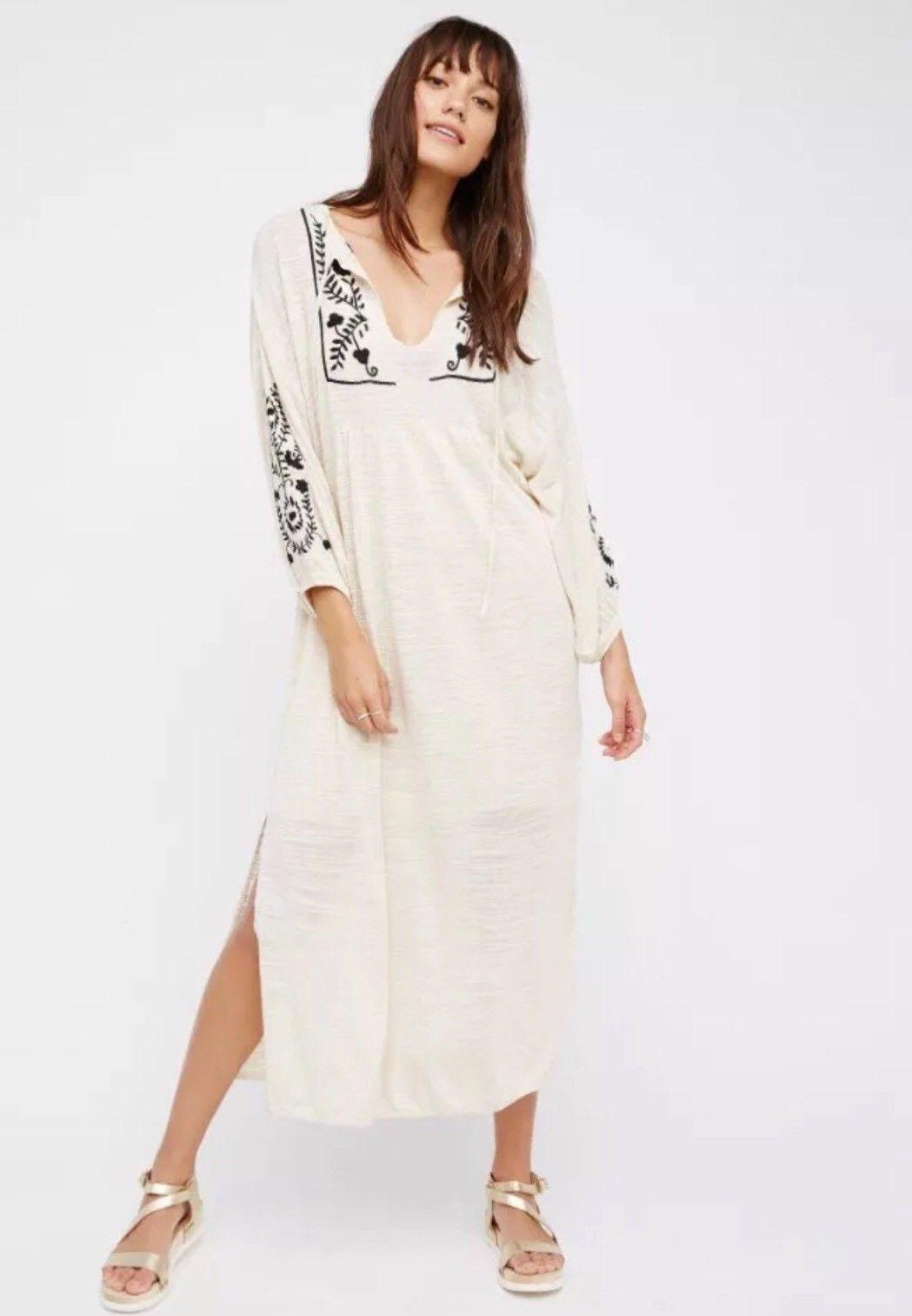 NEW Free People Ivory schwarz Embroiderot Boho Sweet Harvest Maxi Dress M