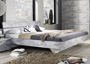 bett 180x200 cm doppelbett futonbett schlafzimmer vintage optik grau weiss neu ebay. Black Bedroom Furniture Sets. Home Design Ideas