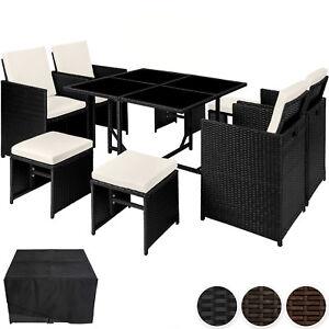 Détails sur Ensemble Salon de jardin poly rotin 4 chaises résine tressée  table set