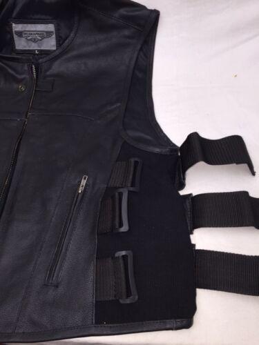 MEN/'S BIKER UPDATED SWAT TEAM STYLE MOTORCYCLE LEATHER VEST W//2 GUN POCKETS NEW