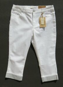 NEW-69-COLDWATER-CREEK-White-Stretch-Denim-Cuffed-Cropped-Jeans-size-12