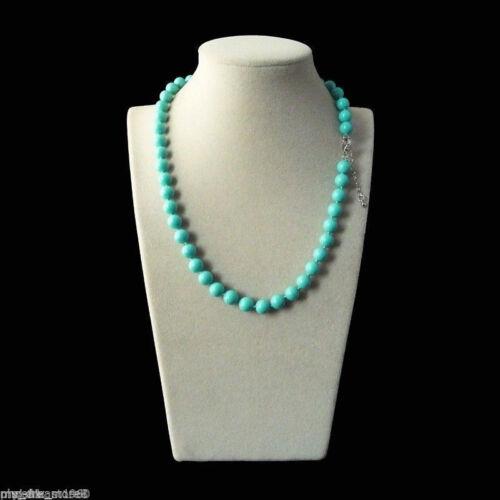 environ 50.80 cm 10 Mm Véritable ronde naturelle bleu turquoise South Sea Shell collier de perles 20 in