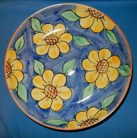 12.5 Handpainted Blue Yellow Sunflowers Pasta Serving Low Bowl Dish Portugal