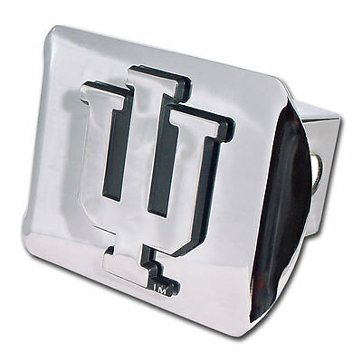 chrome with red trim on chrome METAL Hitch Cover University of Indiana METAL emblem
