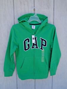 Details about New! Gap Kids Green Hoodie Boys Hooded Jacket M L XL 8 9 10 11 12 Zip Arch Logo