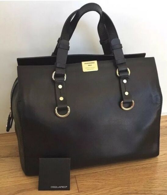 Dsquared2 Black Leather Smooth Bowler Bag Satchel Handbag Euc