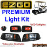 EZGO TXT Golf Cart Light Kit Black Bezel Adjustable HEADLIGHT w/ LED TAILLIGHTS