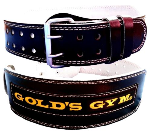 """Golds Gym Poids Lifting Ceinture 4/"""" Cuir Lombaire Support Dos Power Training"""