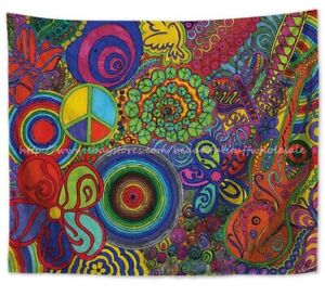 bedroom art decor psychedelic trippy wall hanging tapestry ...