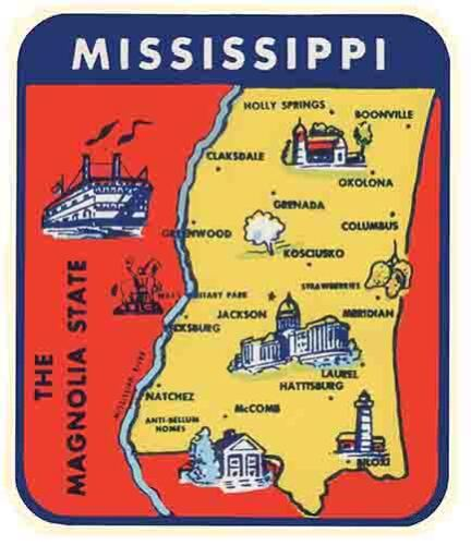Mississippi  state map   Vintage 1950/'s Style  Travel Decal Sticker