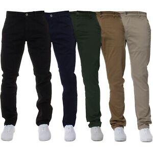 Para Hombre Enzo Jeans Estrechos Calce Ajustado Pantalones Chinos Super Stretch Pantalones De Tela Vaquera Envejecida Ebay