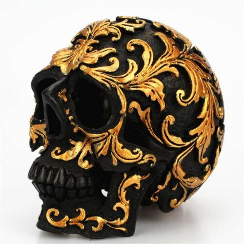 Deco Gold Black Skull Gothic Halloween Decoration Resin Bones Face Carnival