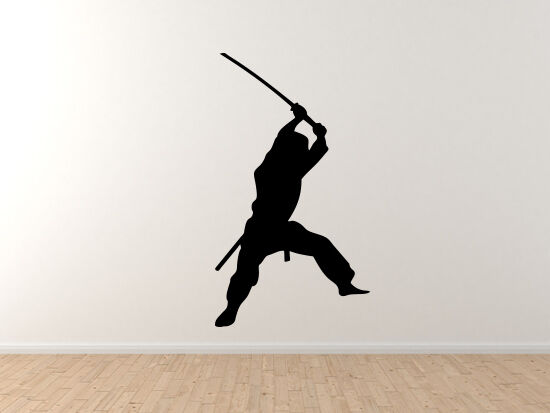 Ninja Samurai  12 - Assassin Katana Sneak Swing Strike - Vinyl Wall Decal