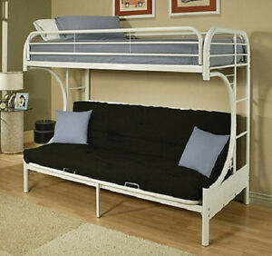 Amazing Details About New Twin Over Full Futon Bunk Bed White Metal Loft Dorm Free Shipping Creativecarmelina Interior Chair Design Creativecarmelinacom