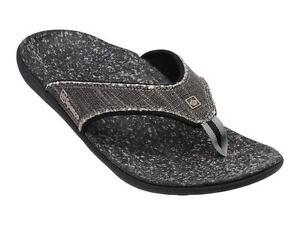a046af90943af Spenco Men s Black PolySorb Yumi Canvas Thong Orthotic Sandals