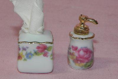 Dollhouse Miniature Tissue Box Soap Dispenser Floral Reutter Porcelain 1:12