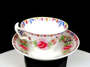 """OLD PARIS ANTIQUE PORCELAIN PINK ROSES BLUE LEAVES 2 3/8"""" CUP AND SAUCER 1800's"""