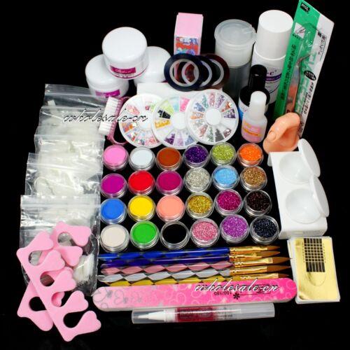 Professional Nail Art Set Acrylic Glitter Powder Primer TIP Brush Glue Dust KITS