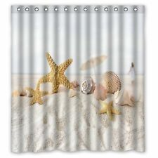 "NEW Beach Theme Shower Curtain Sea Shells Polyester Washable 66""(w) x 72""(h)"