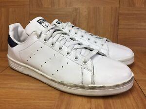 Nouvelles Arrivées 63e2d b5417 Details about RARE🔥 Adidas Stan Smith Originals White Navy Cobalt Blue  Leather Sz 11 Men's LE