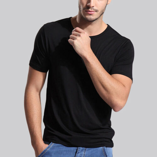 Men/'s Soft Bamboo Fiber Short Sleeve Tee Shirt V /& Crew Neck Tops US Size S-3XL