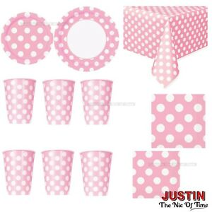 Baby Pink Colour Polka Dot Disposable TABLEWARE Events Catering Birthday Party