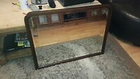 STUNNING LARGE WOODEN ANTIQUE VINTAGE OVERMANTLE MIRROR WITH BEVELLED EDGE