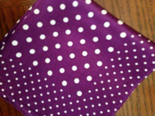 "14/"" Satin 100/% Silk Pocket Square  Deep Purple Polka-D6"